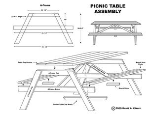 comment faire une table de picnic en bois table de lit. Black Bedroom Furniture Sets. Home Design Ideas