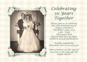 Id es pour une invitation de 50e anniversaire de mariage for 50e anniversaire de mariage